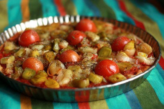 Пирог овощной открытый
