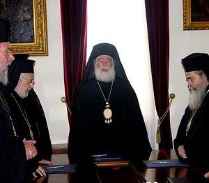 На встрече предстоятелей Ближневосточных Православных Церквей. 27 марта 2012 года