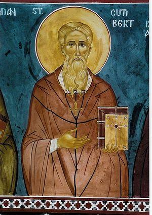 Святитель Кутберт, епископ Линдисфарнский. Фреска