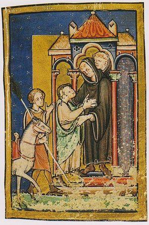 Св. Бойсил встречает св. Кутберта в монастыре Мелроуз. Миниатюра XII века, сейчас в Британской библиотеке