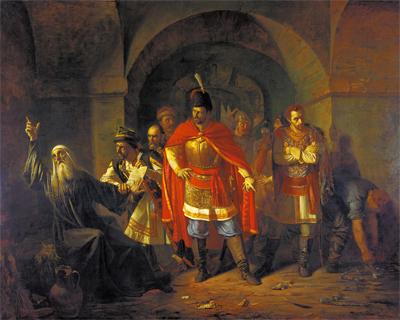 Патриарх Гермоген в темнице Чудова монастыря. Художник Павел Чистяов, 1860г.