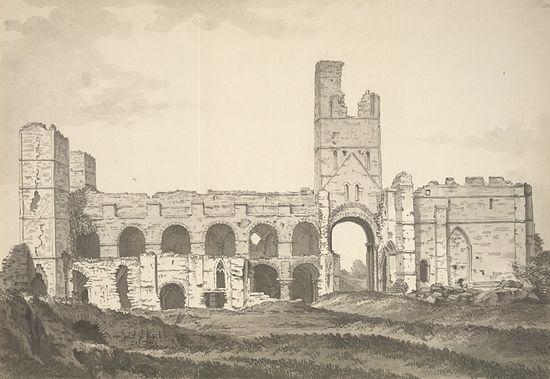 Загрузить увеличенное изображение. 712 x 491 px. Размер файла 102893 b.  Вид на церковь-приорат на острове Линдисфарн. Рисунок 1772 года