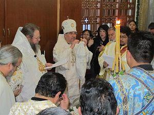 Bishop Alejo blesses faithful during January 2012 anniversary celebration.