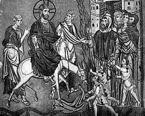 Ил. 4. Вход Господень в Иерусалим. Вторая половина XI в. Мозаика церкви Успения Богоматери в Дафни (Греция)