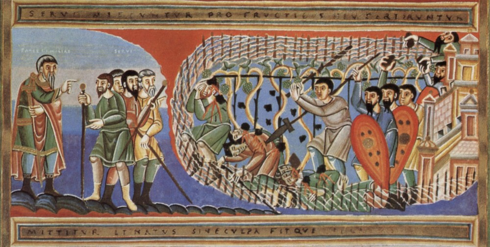 Holy and Great Tuesday. Parable of the husbandmen. Book miniature. 11th c.
