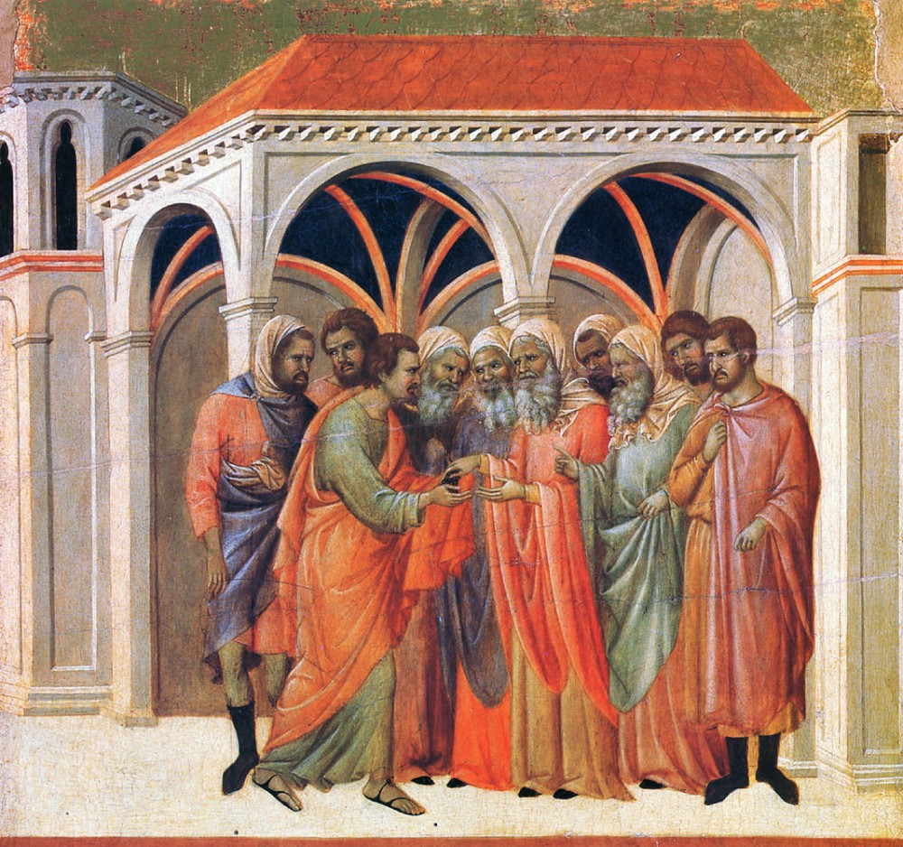 Holy and Great Wednesday. Judas's betrayal. Duccio di Buoninsegna, 13th c.