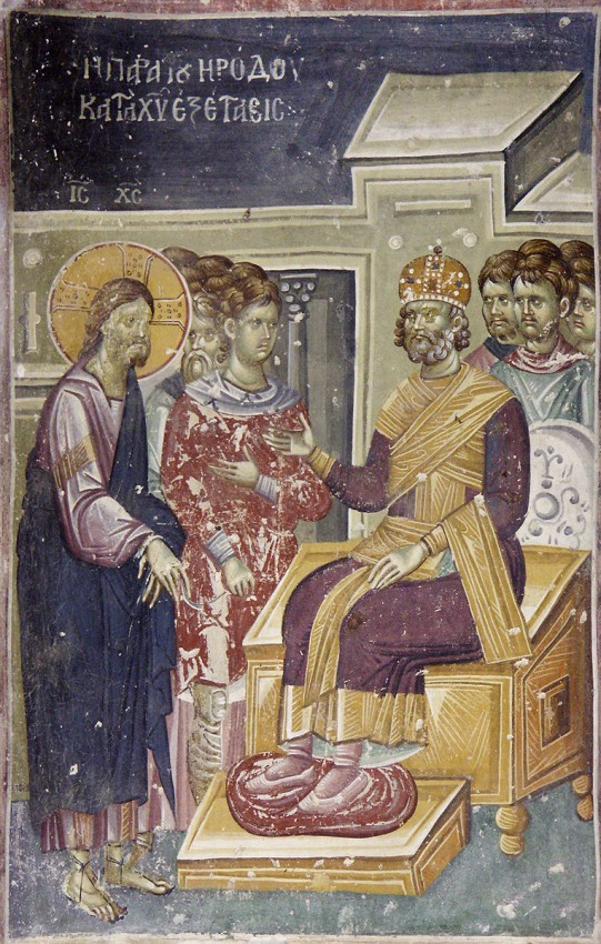 Holy and Great Friday. Christ  before Herod. Fresco in Staro Nagoricno, Macedonia. 12th-14th c.