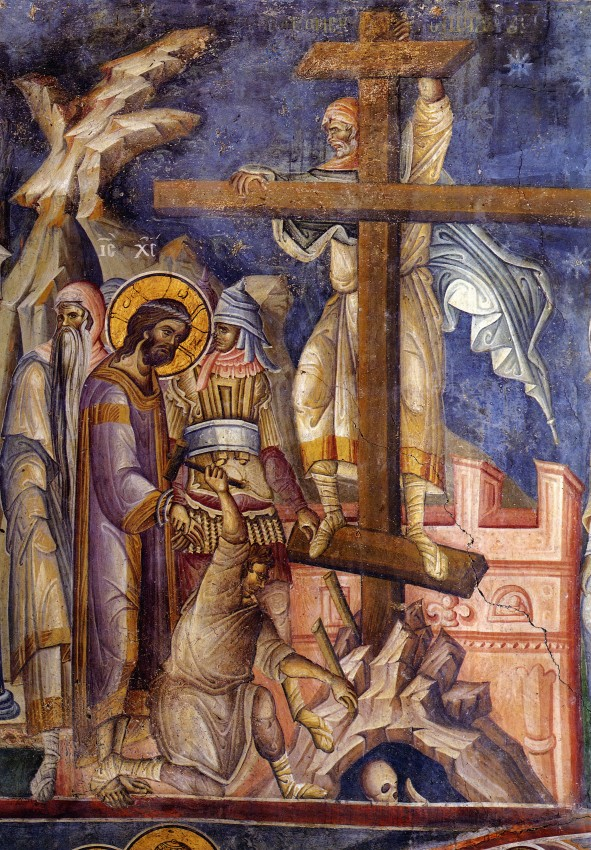 Великая Пятница. Восхождение на Крест. Нач. XIV в, фреска монастыря Ватопед, Афон