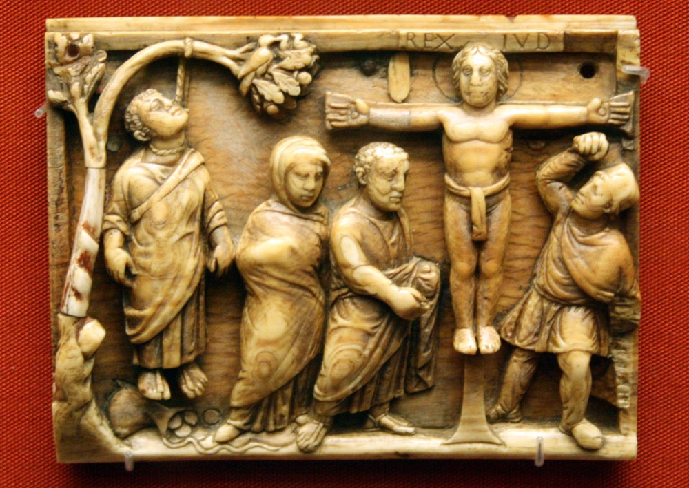 Holy and Great Friday. The crucifixion of Christ, and the death of Judas. Ivory. British Museum. 420-430 AD.