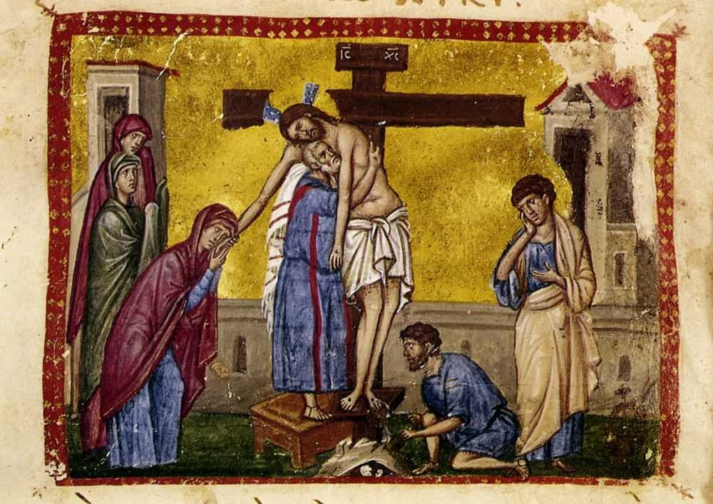 Holy and Great Friday. Taking Christ down from the Cross. Book miniature.