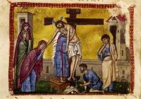 Снятие со Креста.  Книжная миниатюра.
