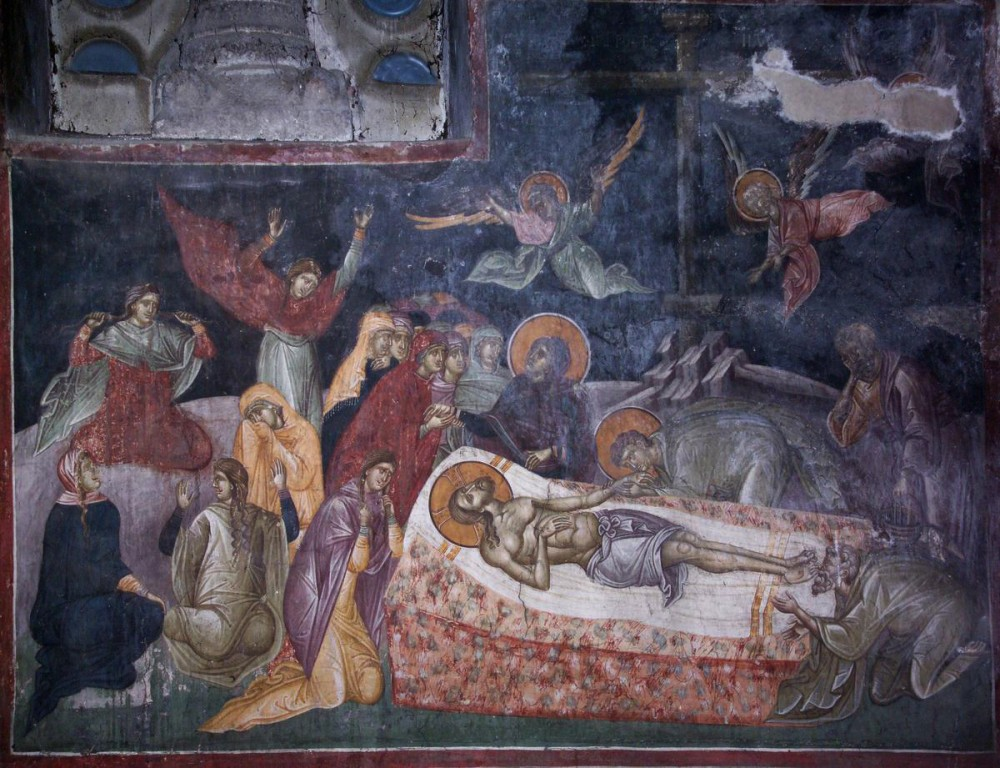 Holy and GreatFriday. Lamentations. Fresco in Gracanica Monastery.