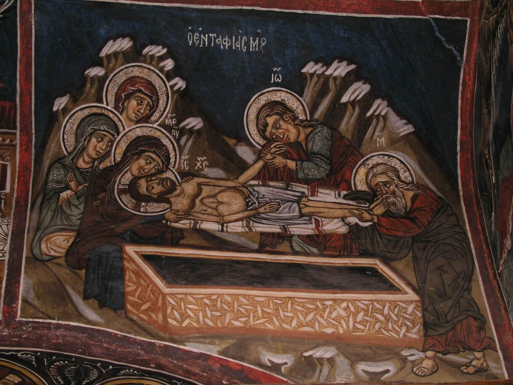Holy and Great Friday. Placing Christ in the tomb. Fresco in Cyprus.