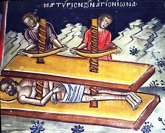 Мучение свв. Ионы и Варахисия.Тзортзи (Зорзис) Фука. Фреска. Афон (Дионисиат). 1547 г.