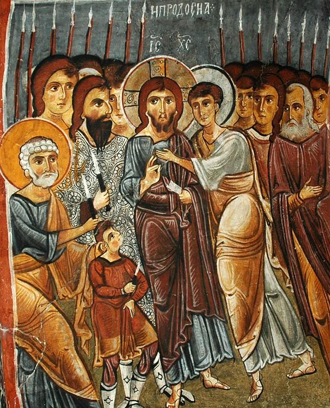 Holy and Great Friday. Judas's kiss. Cave church, Cappadocia. 11th c.