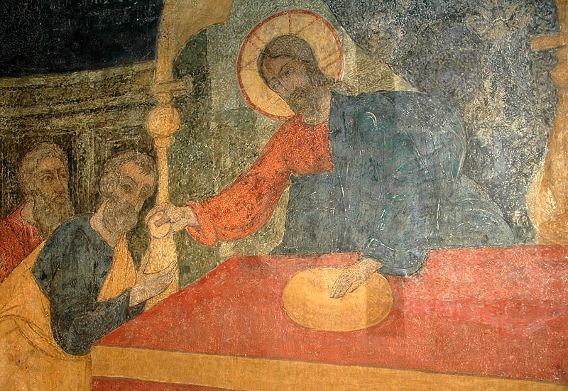 Holy and Great Thursday. The Apostles receiving Communion. Fresco in the Cathedral of the Vladimir Icon of the Mother of God, Sretensky Monastery, Moscow.