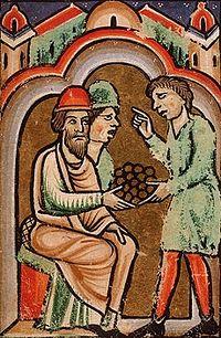 Иуда получает 30 сребренников за предательство Христа