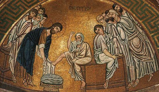 Омовение ног. Мозаика наоса кафоликона монастыря св. Луки в Фокиде, Греция. 1030-е гг