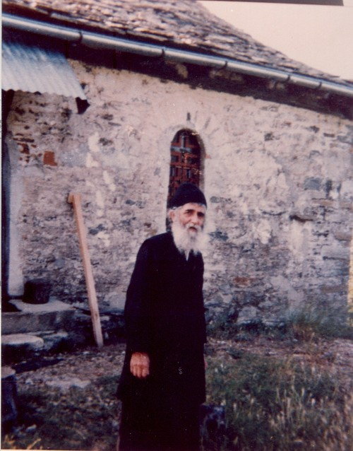 St. Paisios outside his cell.