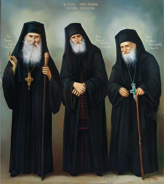 Elder Iakovos of Evia, St. Paisios of Mt. Athos, and St. Porphyrios of Kafsokalyvia.