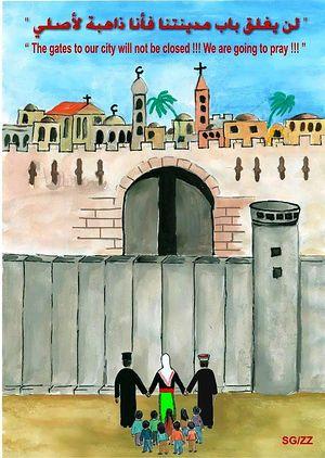 «Наш Иерусалим и наша Палестина! Все пойдем в Город в день Воскресения Христова, чтобы славить Господа и быть свидетелями Его смерти и Воскресения из мертвых» – с таким статусом эта картинка появилась в сообществе палестинских христиан на Facebook