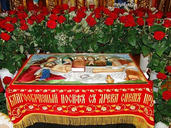 The epitaphion, in Russian plaschanitsa, or symolic winding sheet of Christ.
