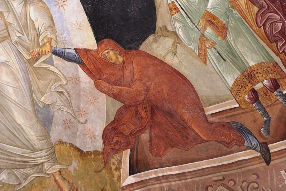 Ева. Фрагмент сошествия Христа во ад. Фреска монастыря Хора, Константинополь. XIV в.