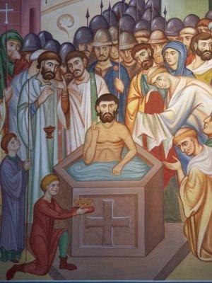 Святитель Августин Кентерберийский крестит короля Этельберта