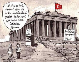 Турецкий флаг над Акрополем (проваrационный заголовок немецкой газеты Frankfurter Allgemeine)