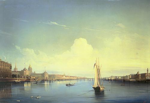 Алексей Боголюбов Петербург при заходе солнца 1850 г.