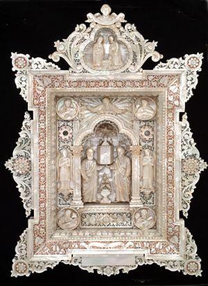 Икона из перламутра «Петр и Февронья», Вифлеем, нач. ХХ в.