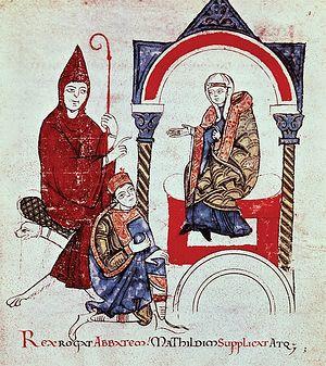 Император Генрих IV молит аббата Клюни и маркграфиню Матильду о заступничестве перед папой