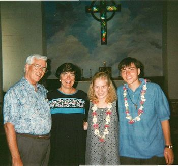 In Hawaii, with his fiance in a Episcopalian church. 1995 г.