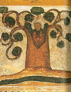 St. Paul of Obnora living in a linden tree. 17th c.