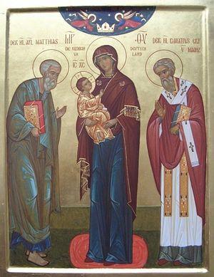 Святой апостол Матфий и святитель Бонифаций предстоящие перед Богородицей
