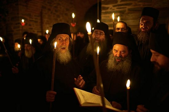Athonite night service. Photo: Trevor Dav/National Geographic