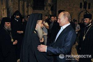Президент России Владимир Путин и Патриарх Иерусалимский Феофил III. Фото: Алексей Дружинин