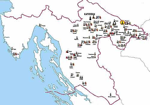 Карта Горно-Карловацкой епархии с обозначением церковных объектов, пострадавших во время войны 1991-1995 гг.