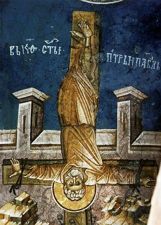 Распятие&gt;&lt;/a&gt;&lt;/td&gt; ></a>Распятие апостола Петра</td>         </tr>      </table> <p><span>Получив от ангела откровение о том, что ему предстоит умереть в Риме, святой Петр подчинился воле Промысла и возвратился в столицу. Здесь он назначил святого Климента (память 24 ноября) преемником скончавшегося Лина. По преданию, император Нерон приказал арестовать святого Петра за то, что тот обратил в христианство его обеих жен. Двух учеников апостола освободили, а сам он был распят на кресте, по его собственной просьбе &ndash; вниз головой. Ибо, сказал он, Господь был распят стоя, словно для того, чтобы смотреть на землю и на грешников, которых Он спасает, а ученику подобает смотреть на Небо &ndash; туда, куда он стремится.</span></p> <div>Что же сказать о святом Павле &ndash; первом после Единого? Даже корифея красноречия, святого Иоанна Златоуста, охватывало упоение, когда он произносил имя святого Павла, и он прерывал свою речь, чтобы воздать хвалы апостолу. Тот, кто считал себя последним из апостолов и недостойным даже этого названия, стал &laquo;избранным сосудом&raquo; (Деян. 9: 15) благодати, как никто другой, &ndash; и по изобилию откровений и духовных даров, и в особенности по трудам и скорбям, понесенным во имя Христово. Поистине святой Павел мог называться апостолом в полном смысле слова.</div> <div>Святой Павел был евреем из колена Вениаминова. Он родился в киликийском городе Тарсе около 10 года по Рождеству Христову в одной из общин еврейской диаспоры, слепо преданной заветам отцов. Мальчик был назван Савлом и, благодаря происхождению своего отца, пользовался привилегированным положением римского гражданина. Он вырос в этом космополитичном городе в тесном соприкосновении с греческой культурой. Но его пламенная преданность Закону побудила родителей отправить сына в Иерусалим, где он примкнул к фарисеям и стал учеником знаменитого раввина Гамалиила Старшего. Савл разделял ненависть своих отцов к христианам, которых считал опасными преступниками, гре