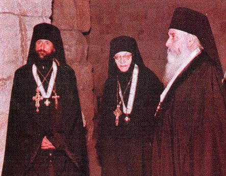 Архимандриты Антоний (Граббе) и Димитрий (Биакай) с игуменией Тамарой