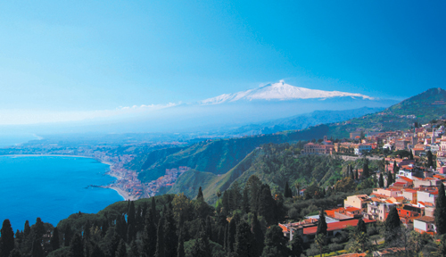 Taormina, Sicily, with Mt. Aetna in the background.