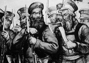 Ополченцы в 1812 г. Художник И. Архипов