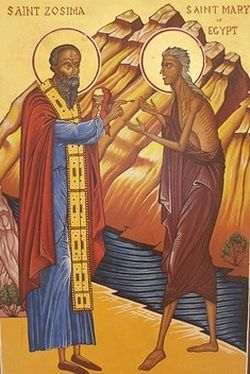 St. Zosimos giving Holy Communion to St. Mary of Egypt.