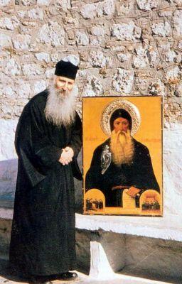 Старец Иаков с иконой преподобного Давида Эвбейского