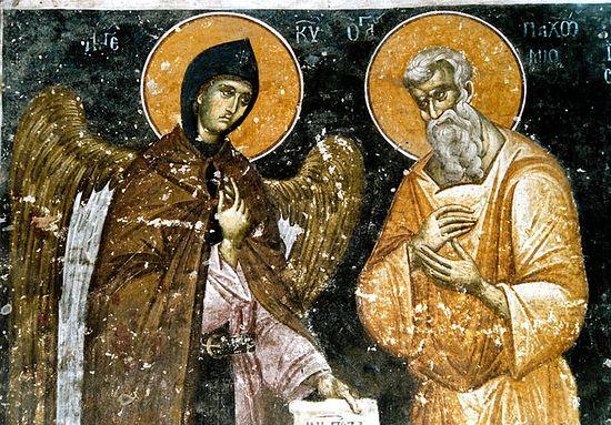Ангел вручает прп. Пахомию Великому устав монашеской жизни