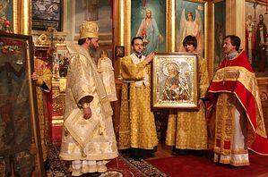 В знак признательности за хранение святыни Богородицерождественскому храму передали образ прп.Серафима Саровского
