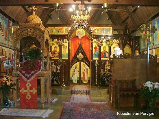 Монастырь в честь иконы Божией Матери «Всех скорбящих Радость» в Первейзе, Бельгия. Интерьер храма