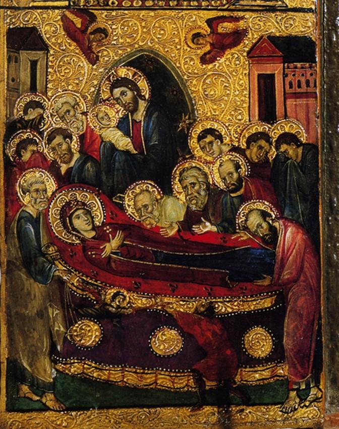 Успение Пресвятой Богородицы. Византия; XIII век. Синай. Фрагмент триптиха