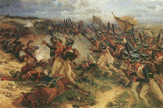 Атака лейб-гвардии Литовского полка из 5-го пехотного корпуса. Худ. Н. Самокиш, 1912 г