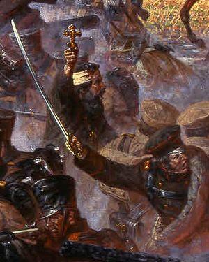 Сражение за Малоярославец 12 (25) октября 1812 г. Автор: Александр Аверьянов. Фрагмент. В рядах воинов священник Василий Васильковский с крестом в руках